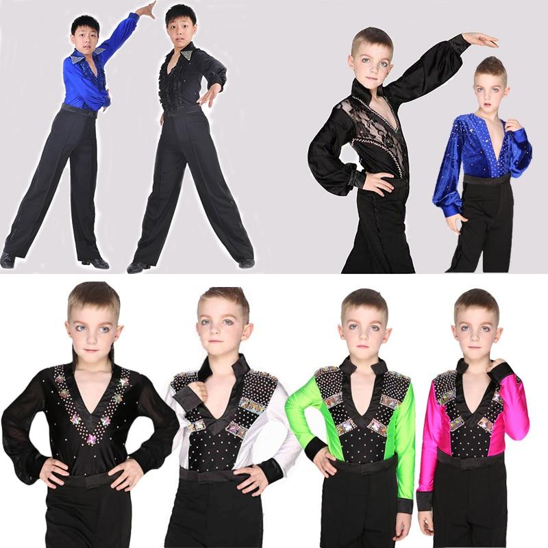 Child Ballroom Dance Tops Boys Latin Dance Shirt Leotard Stage & Dance Wear For Boys