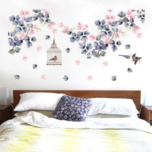 Flowers Vine Birds Cage Flying Birds Wall Stickers Living Room Bedroom Wall Mural Poster Art Home Decor Wall Decals Wall Graphic