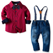 купить 2019 New Baby Boy Clothing Set Boy Gentleman Suits Long Sleeve Red Plaid Shirt with Bow Tie+Suspenders Pants Kids Casual Outfit дешево