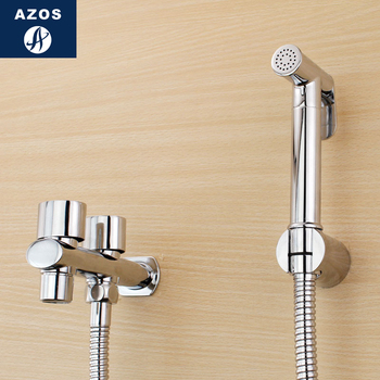 Azos Bidet Faucet Pressurized Sprinkler Head Brass Chrome Cold Water Two Function Toilet Wash Washing Machine Round PJPQ016