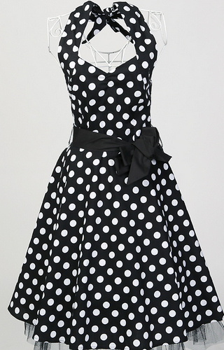 Womens 2XL Black and White Polka Dot Bodycon Dress Rockabilly Pinup New