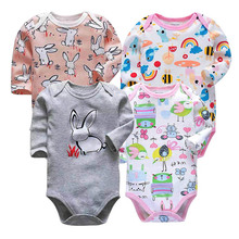 Newborn Bodysuit Baby Boy Girl Long Sleeve Jumpsuit Outfits 100%cotton Printing 4 Pack 0-24 Months Autumn Playsuit Clothes все цены