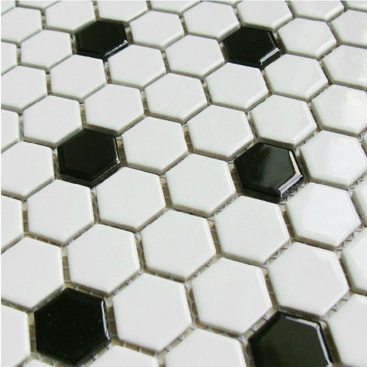 clsico negro blanco mezclado hexagonal de cermica azulejos de mosaico para bao ducha de pared y