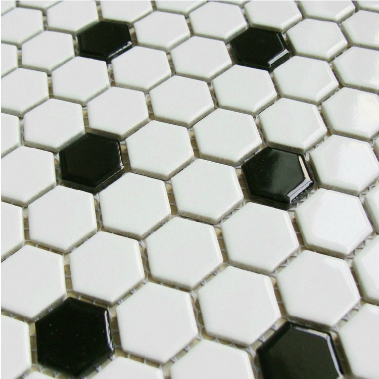 Online Shop Classic Black Mixed White Hexagon Ceramic Mosaic Tiles