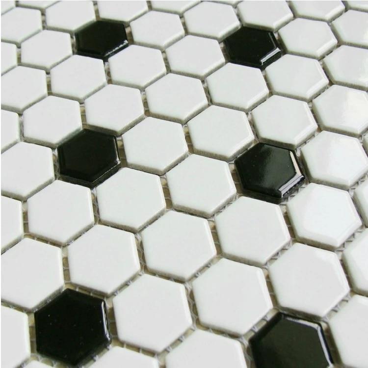 classic black mixed white hexagon ceramic mosaic tiles for bathroom shower wall and floor tiles kitchen backsplash hallway
