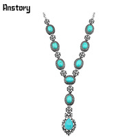 Fashion Jewelry Tibetan Style Antique Silver Plated Rhinestone Turquoise Bead Flower Pendant Necklace TN211