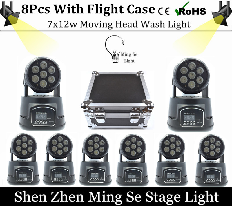 Best 8Pcs/lot 7x12W RGBW 4in1 quad led wash moving head light wtih flight case LED stage lights Mini LED Moving Head 14 channels 4piece lot 3x3 led matrix moving head light matrix rgbw 4in1 9x10w led cree led stage lights