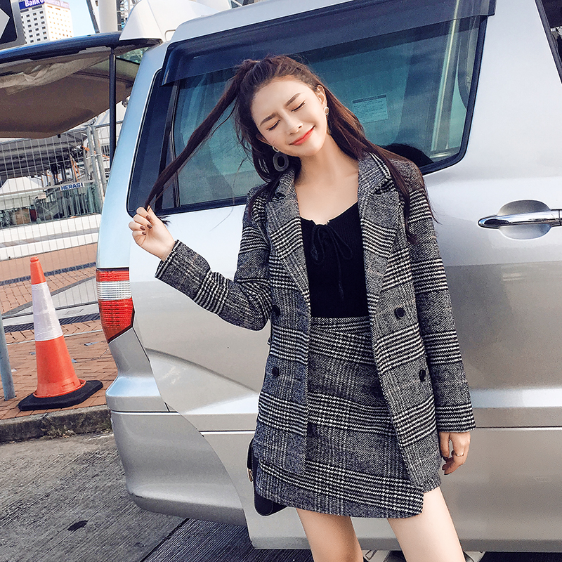 Two Piece Set 2017 Autumn And Winter New Houndstooth Jacket Croptop And Skirt Set Woman Suits Lady Suit Office Wool Coat