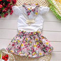 Новые Моды 2016 новорожденных девочек одежда набор Милые Дети Девушка с коротким рукавом ShirtsTops + цветок Skirts2pcs костюм дети летней одежды