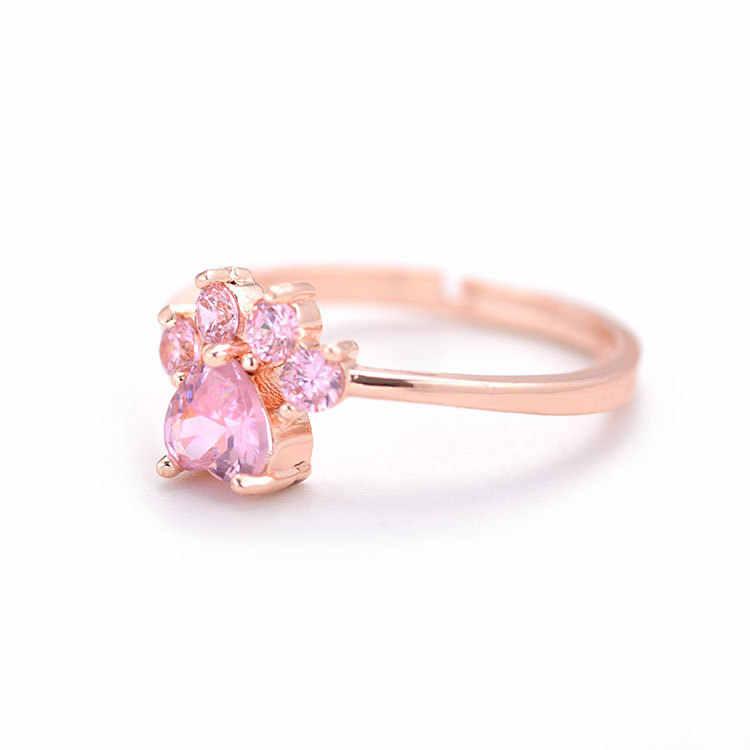 Регулируемое кольцо с милыми медвежьими лапами и когтями, золотые, серебряные кольца для женщин, романтические свадебные ювелирные изделия с розовыми кристаллами, подарки