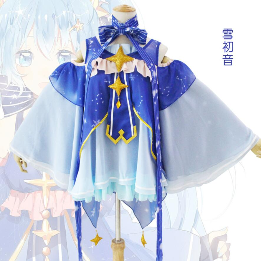 Free ship Snow Miku Cos VOCALOID Cosplay Costume For Woman Cosplay Woman Lolita Snow Miku Cosplay Costume
