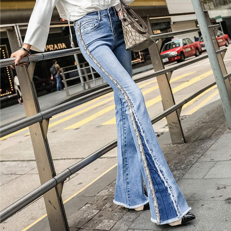 Trumpet jeans female Spring New High waist Slim Slimming modis Heavy Embroidery Embroidered Side Beaded Edging