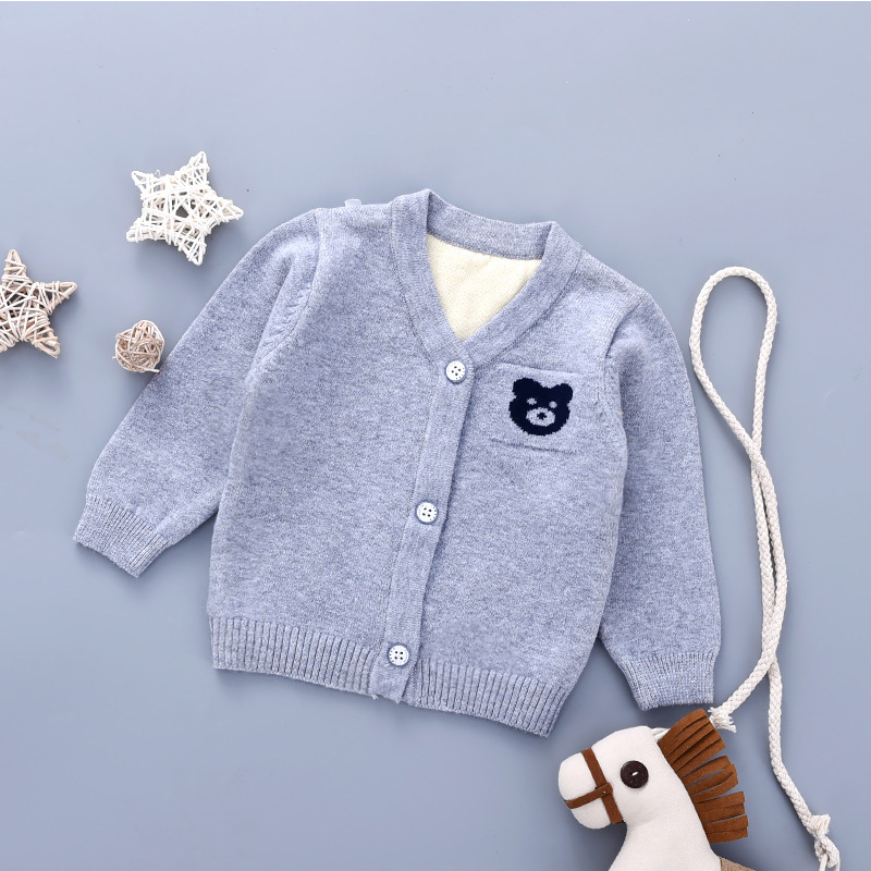 Bear Cute Baby Sweater Cardigan Cotton Knitted Sweater For Newborn Girls V-Neck Long Sleeve Baby Cardigan Outdoor Sweater Autumn (6)