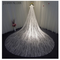 100% Real Photos Gold Veil Bling Bling Lace Shining Long Cathedral Length Wedding Veil Luxurious Bridal Veil