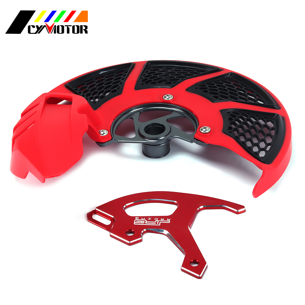 RED Front Rear Brake Disc Rotor Guard Cover For HONDA CR125R CR250R CRF250R 2004-2017 CRF450R CRF250X CRF450X 2005-2016 cnc offroad mx clutch brake levers for honda cr125r 04 07 cr250r crf250r 04 06 crf450r 04 06 crf250x 04 16 crf450x 05 16