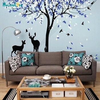 Big Size DIY Large Tree Stickers Animal Deers Leave And Bird Nursery Vinyl Wall Decal Kid Room Wallpaper Baby Room Sticker B924