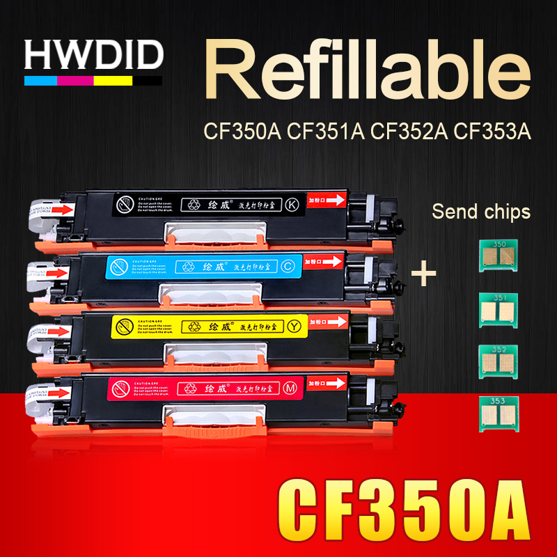 HWDID 130A/a CF350A CF351A CF352A CF353A 350A/a cartouche de Toner Compatible pour HP couleur LaserJet Pro MFP M176n M176 M177fw M177