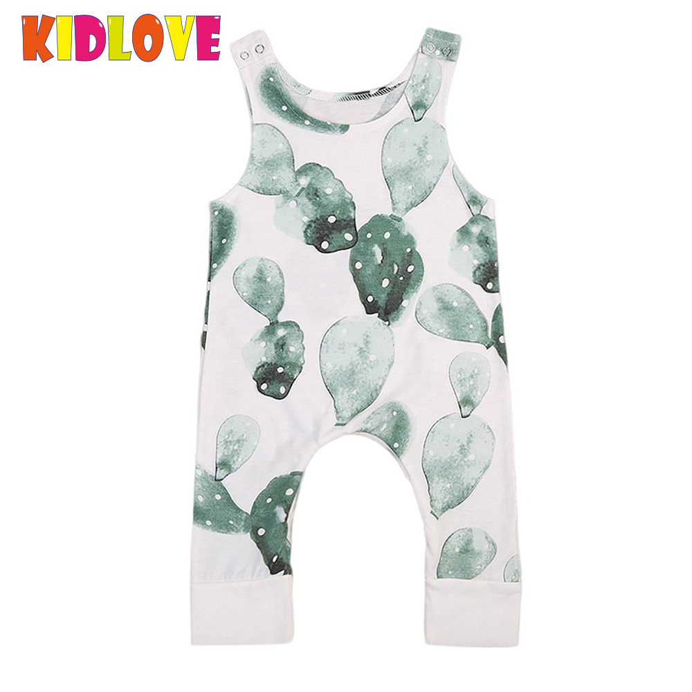 KIDLOVE Infant Baby Boys Girls Romper Cactus Print Sleeveless One Pieces Jumpsuit Summer Cute Newborn Toddler Kids Clothes ZK30