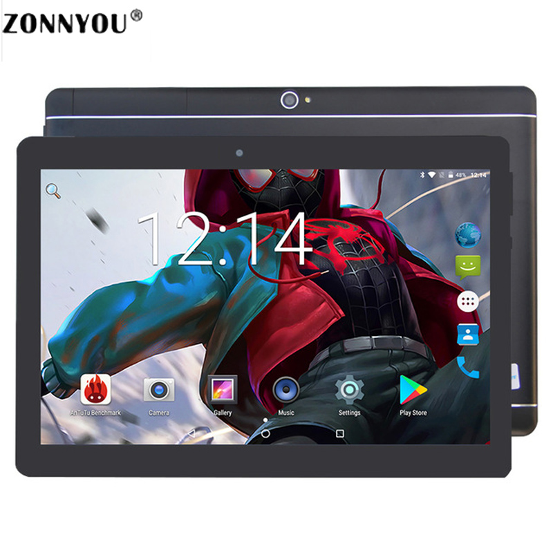 10.1 Inch Tablet PC Android 7.0 3G Phone Call Dual SIM Card Octa Core 4GB 64GB Wi-fi Bluetooth GPS Tablets PC (Black)