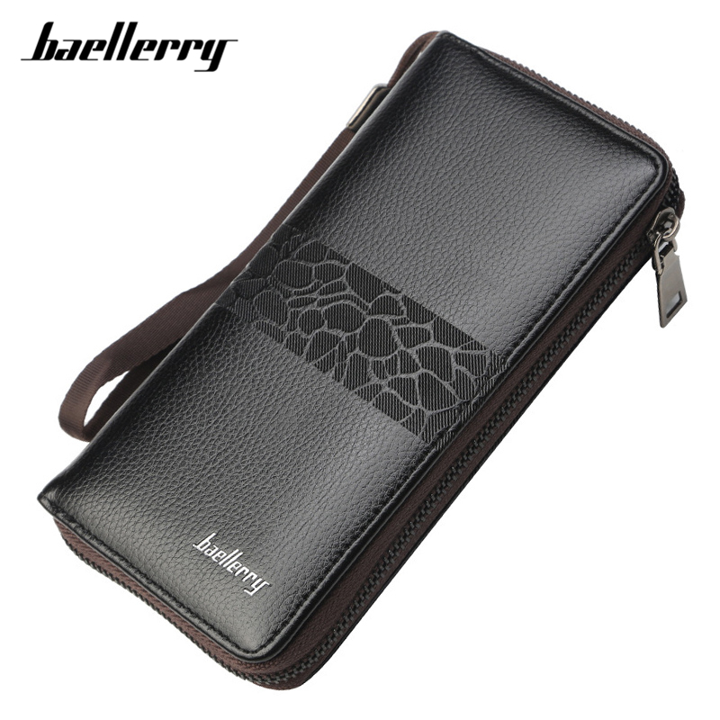 Brand Wristband Men Wallets Leather Card Holder Cell Phone Pocket Long Wallet Male Zipper Business Clutch Purse Man's Carteira luxury brand wallet male mens leather card holder business billfold zipper purse wallets men coin clutch carteira masculina zer