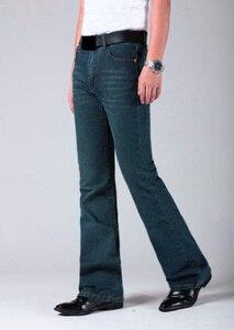 Image 3 - Mens התלקח רגל ג ינס מכנסיים גבוה מותן ארוך התלקחות ג ינס לגברים Bootcut כחול ג ינס Hommes פעמון תחתון ג ינס גברים