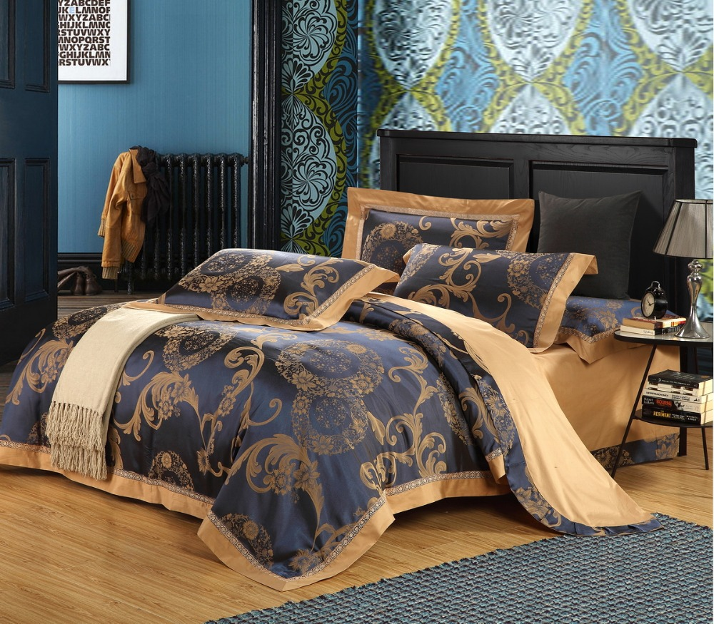 Silk And Cotton Fabric Luxury Jacquard Queen King Size Bedding Sets 4pcs Cotton Bohemia Bed