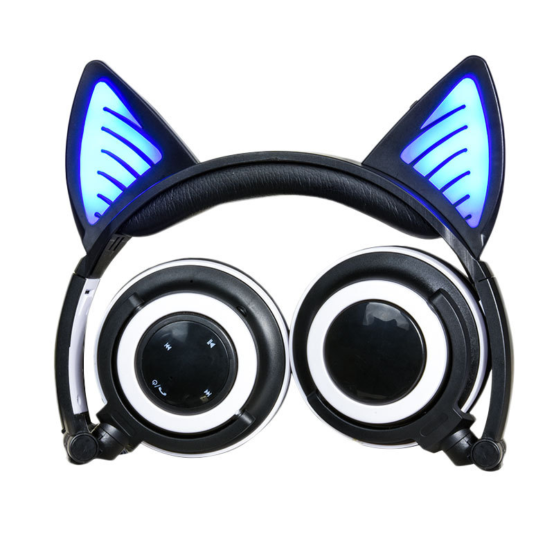 New Cute Glowing Cat Ear Wireless Headphones Noise Cancelling Wireless Bluetooth Headset with Microphone for Mobile phone