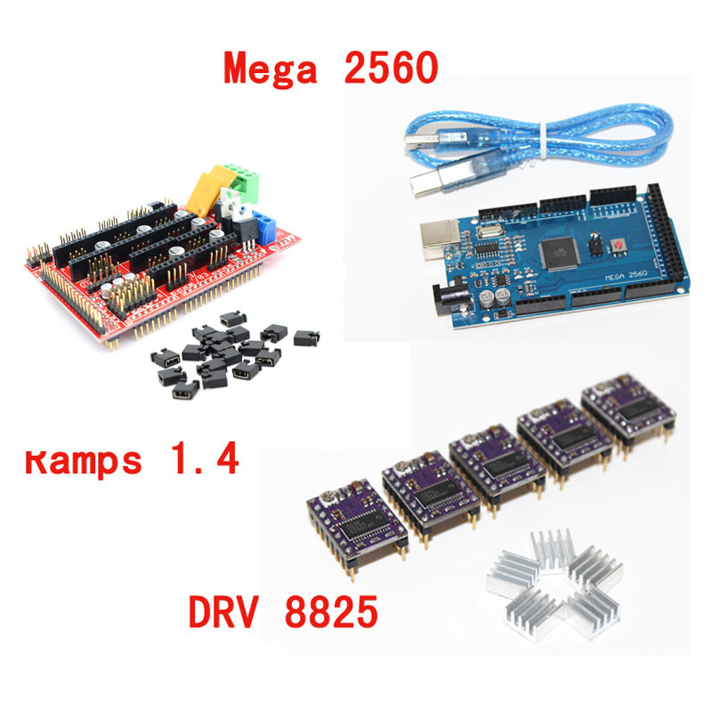 ANYCUBIC 3D Printer 1pc Mega 2560 R3 1pc RAMPS 1 4 control panel 5pcs DRV8825 Stepper