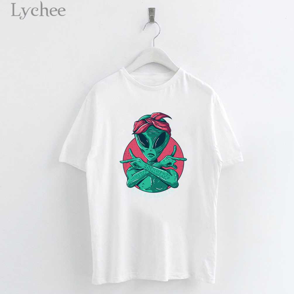 Lychee Harajuku Alien Print Female   T     Shirts   Top Tees Crew Neck Short Sleeve Summer Spring Loose Women   T  -  shirts     T     Shirt