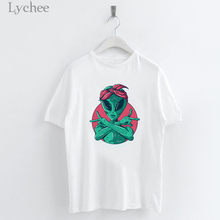 Lychee Harajuku Alien Print Female T Shirts Top Tees Crew Neck Short Sleeve Summer Spring Loose Women T-shirts T Shirt(China)