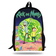 купить 2018 Newest Backpack Rick and Morty dabbing Pickle Rick Pepe Printing Children School Bags Boys Teenage Girls Cartoon Backpacks по цене 1313.04 рублей