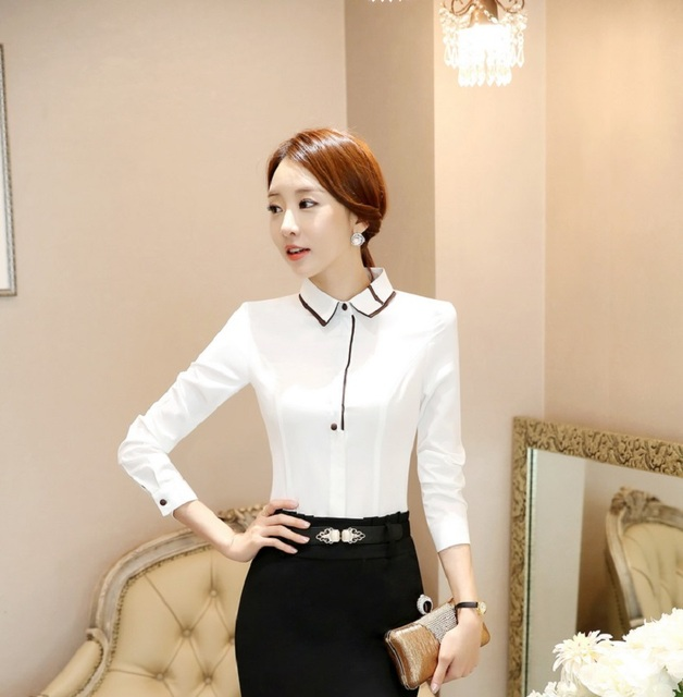 11f77644216 Formal Uniform Design Slim Fashion Spring Fall Long Sleeve Women Blouses   Shirts  Professional Ladies Office Casual Tops Blusas