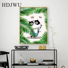 Abstract Nordic Canvas Painting Wall Pictures Cartoon Cute Cat Printing Posters Art Home Decor for Living Room  DJ205