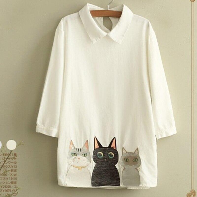 Рубашка с котом на воротнике