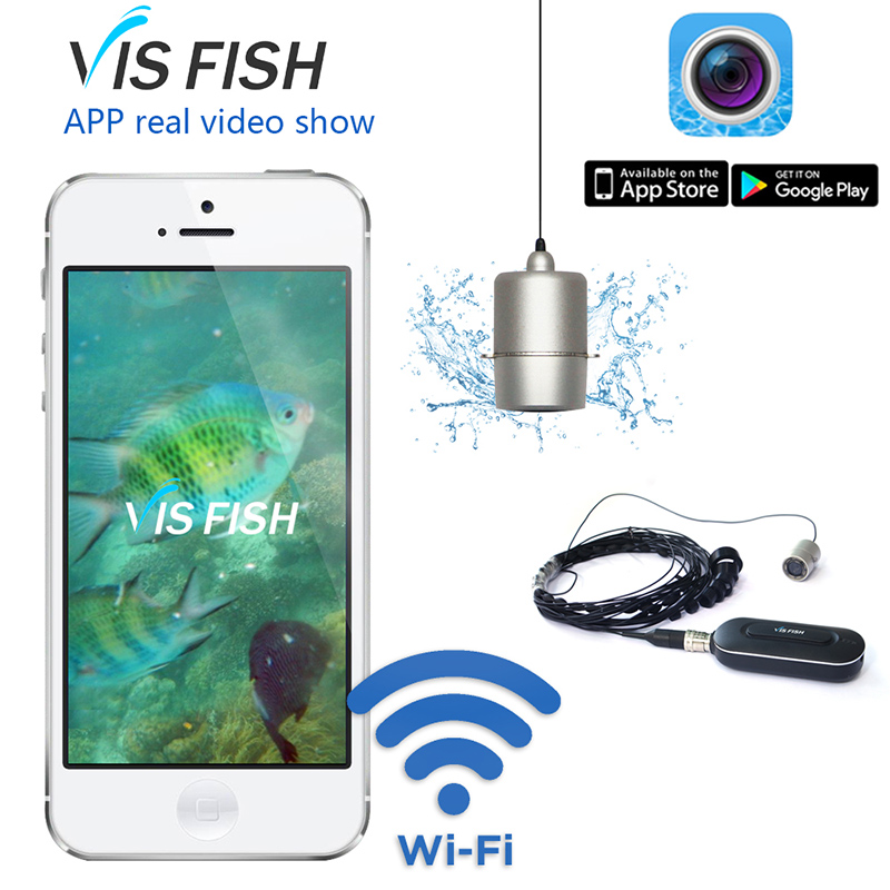 VRFEL Portable HD 1080P WIFI Wireless Video Fish Finder Camera System 140 Degree Lens Underwater Mini Camera Fishing Fish Cam ip66 waterproof mini lens underwater cameras fishing camera lens fishing rod with fish video cameras free ship