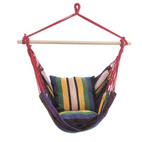 5 Color Garden Patio Porch Hanging Cotton Rope Swing Chair Seat Hammock Swinging Wood Outdoor Indoor