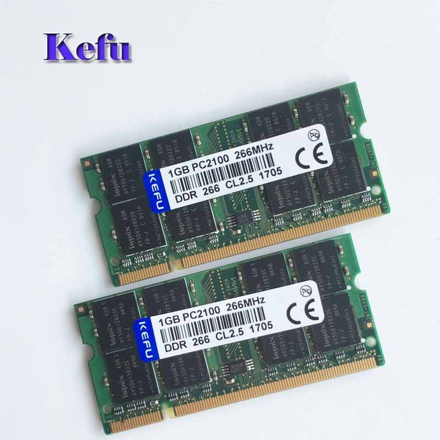 2Pcs 2x1GB PC2100 DDR266 266Mhz 1gb pc2100 ddr 266 266 MHZ ram 200pin DDR1 Sodimm Laptop Memory RAM Free Shipping
