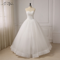 In Stock Vestido De Noiva Stock Corset Wedding Dresses Ivory White Robe De Mariee Organza Beaded