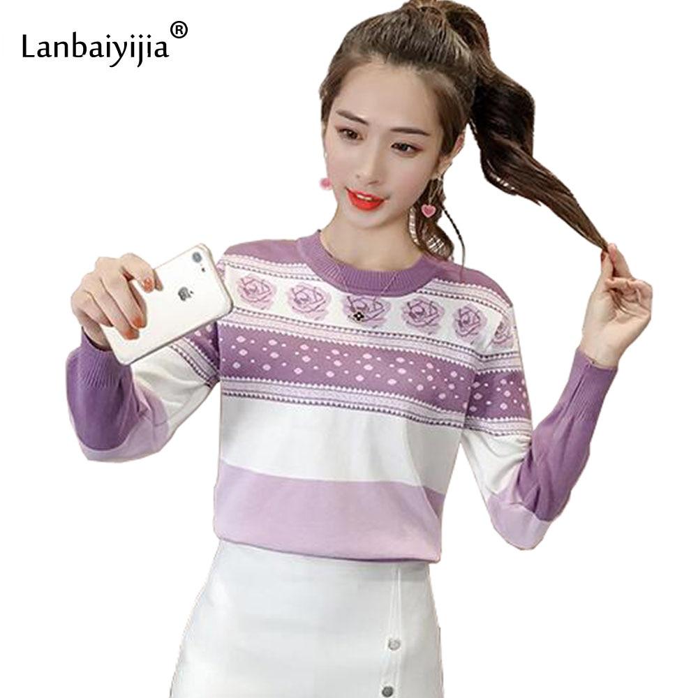 JKKUCOCO Newest Sweet Women Sweater Flower Striped Pattern O Neck Long Sleeve Knitted Sweaters Autumn Women