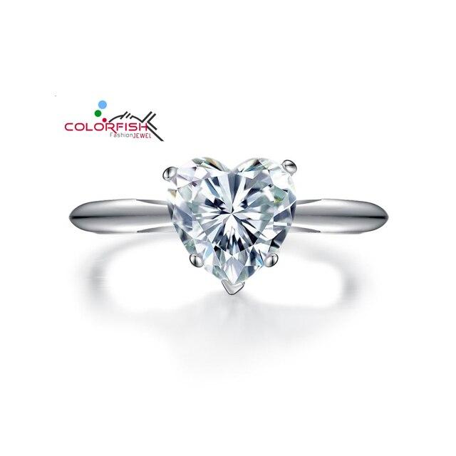 c7f07b8a281b Romantic Love Promise Anillo de Compromiso Solitario Corazón Simulado Anillo  Para Mujer de Plata de ley