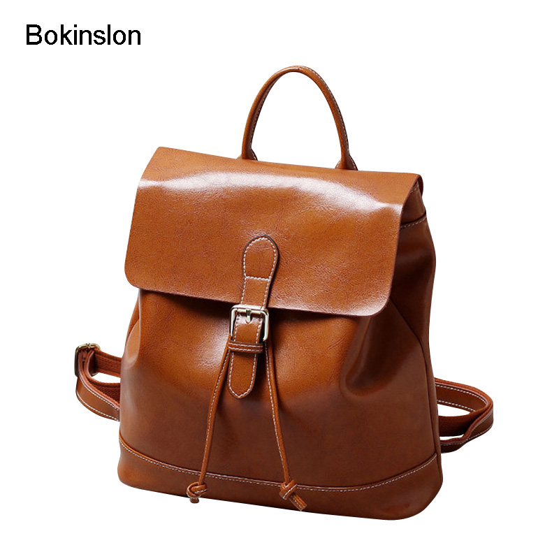 Bokinslon Retro Backpacks Girls Split Leather Solid Color Backpacks Woman Bags High Capacity Exquisite Female Backpacks рюкзаки zipit рюкзак shell backpacks