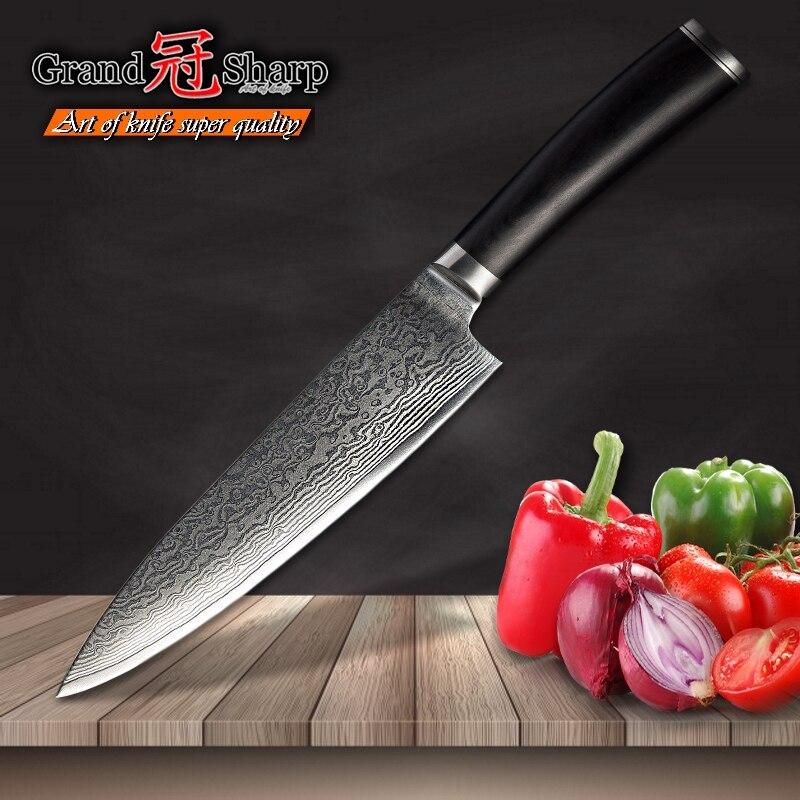 Grandsharp 67 레이어 일본 다마스커스 강철 다마스커스 요리사 칼 8 인치 VG 10 블레이드 다마스커스 주방 나이프 프로 요리 도구-에서주방 칼부터 홈 & 가든 의  그룹 1