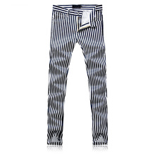2018 New Men's Printed Black White Stripes Jeans Pants  Painted Denim Joggers For Male Fashion Pattern Jeans Trousers Slim Fit personality mens skull printed jeans pants slim fit strentch denim trousers man fashion club wear painted jeans joggers straight