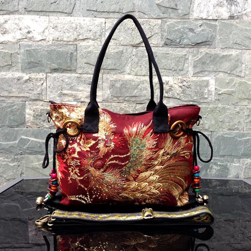 Luxury Women High Quality Capacity Shoulder Bag Sequins Embroidery Phoenix Handbag Shiny Canvas Vintage Hand Bag Top Handle Bags