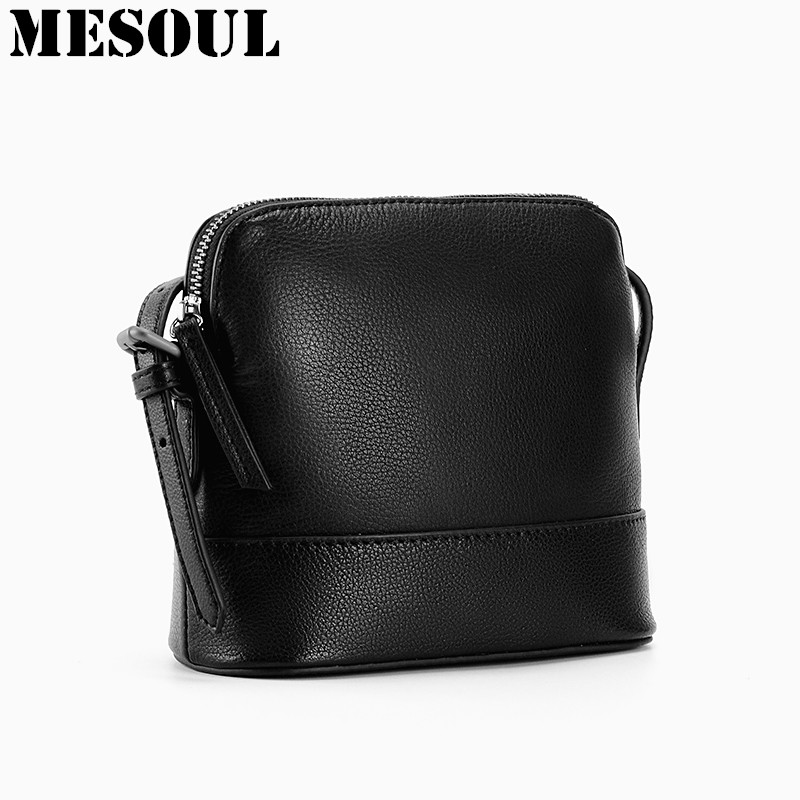 Women Vintage Style Genuine Leather Shoulder Crossbody Bag Black Female Bag Shell Design Lady Messenger Bag Small Purses Satchel genuine leather studded satchel bag women s 2016 saffiano cute small metal rivet trapeze shoulder crossbody bag handbag