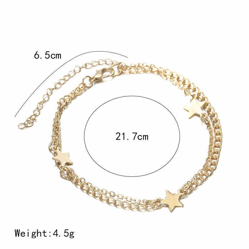 Многослойная золотая/серебряная звезда подвеска цепь лодыжки ноги Пляж ноги браслет Шарм ювелирные изделия подарок