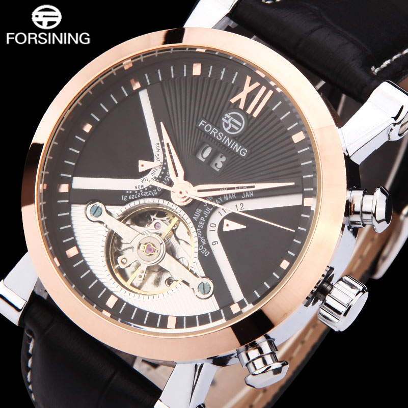 FORSINING Brand Luxury Mechanical Watch Men Tourbillon Automatic Watches Leather Band Auto-Calendar Clock Relogios Masculino 2016 brand steel military fashion self wind relogios automatic watches mechanical tourbillon watch men tourbillon clock with box
