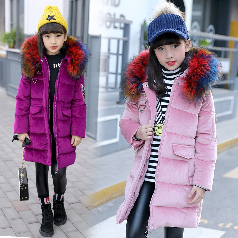 Teenager Long Cotton Hooded Warm Jacket Children's Girl Clothing Autumn Winter Thick Coats Fashion Outerwear Kis Girls Jackets