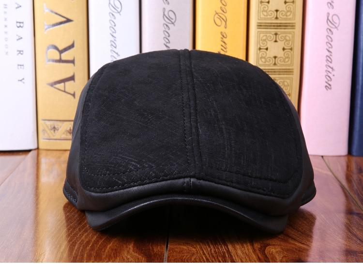 mens winter sheepskin leather baseball caps (10)