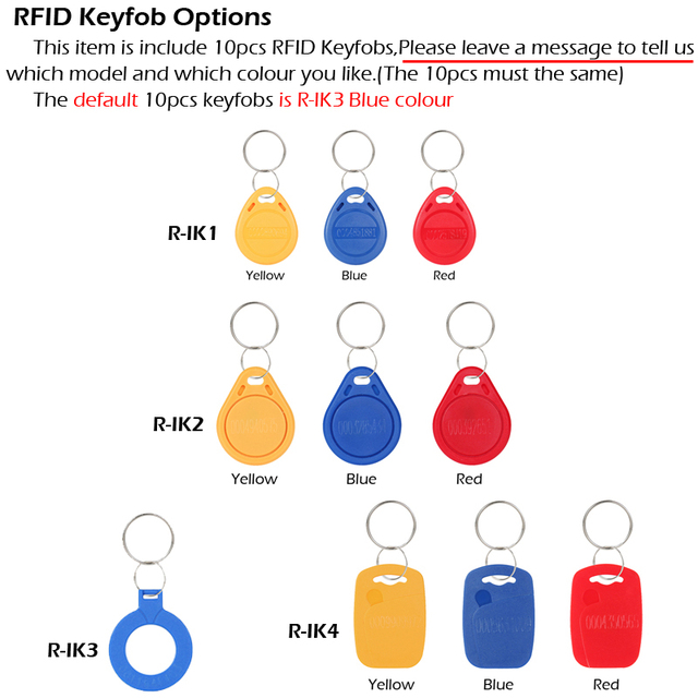 RAYKUBE RFID Access Control Kit Electric Strike Lock + Access Control Metal Password Keypad +ID Keyfobs+Exit Button
